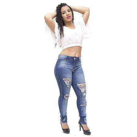 Calça Jeans Feminina Deerf Rasgadinha Skinny Jocieila Azul