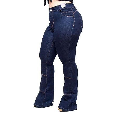 7c044ae074 Calça Jeans Credencial Plus Size Flare Gauri Azul - Andando no ...