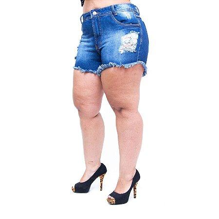 Shorts Jeans 23 Graus Plus Size Rasgadinho Shiori Azul