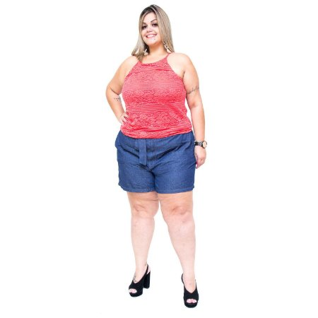 8f7b8c7bf Shorts Feminino Cambos Plus Size Thallessa Azul - Andando no Estilo ...