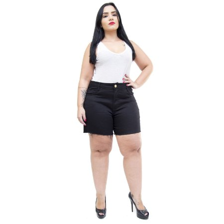 Shorts Jeans Feminino Bokker Plus Size Cristiany Preto