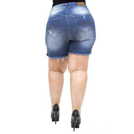 Shorts Jeans Feminino Bokker Plus Size Flariane Azul