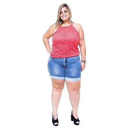 Shorts Jeans Feminino Bokker Plus Size Kaoanna Azul