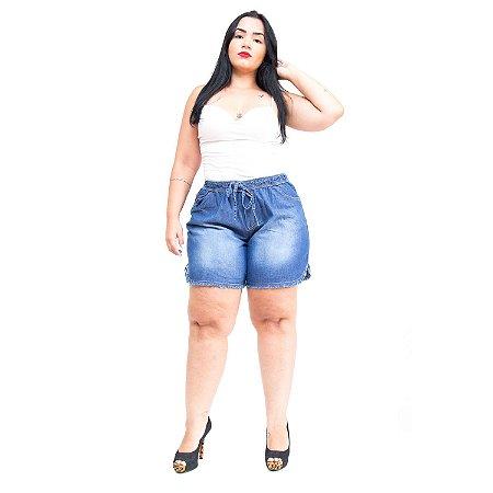 Shorts Jeans Feminino Brunfer Plus Size Elisiely Azul