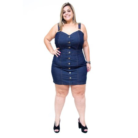 Vestido Jeans Feminino Cambos Salopete Plus Size Rael Azul