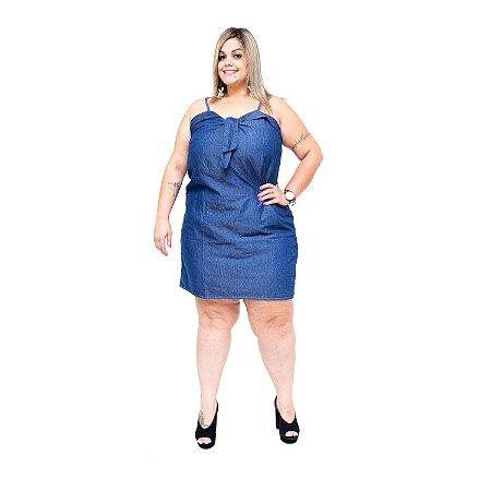 Vestido Jeans Feminino Cambos Plus Size Diomar Azul