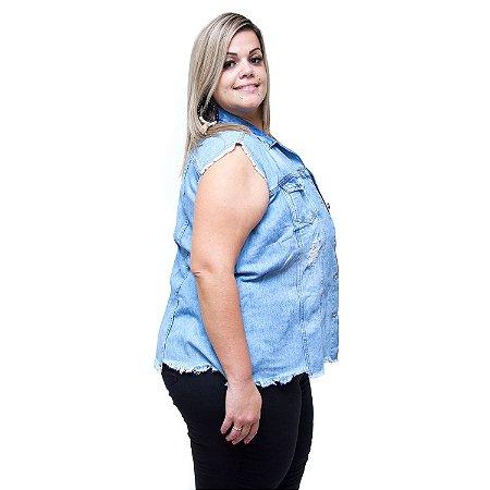 Colete Jeans Feminino Cambos Plus Size Priscili Azul