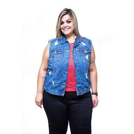 Colete Jeans Feminino Cambos Plus Size Jucimaria Azul