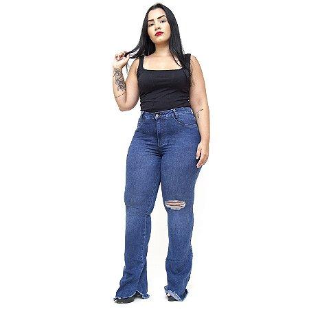 Calça Jeans Feminina Cambos Plus Size Flare Juciele Azul
