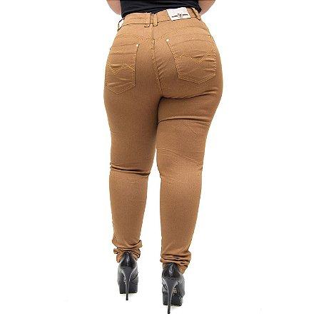 Calça Jeans Latitude Plus Size Skinny Geruzia Marrom