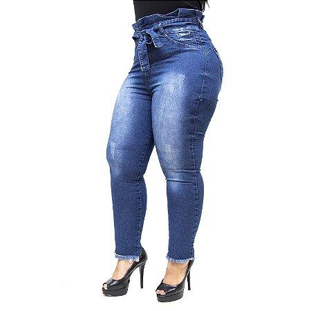 Calça Jeans Feminina Meitrix Plus Size Skinny Odilane Azul