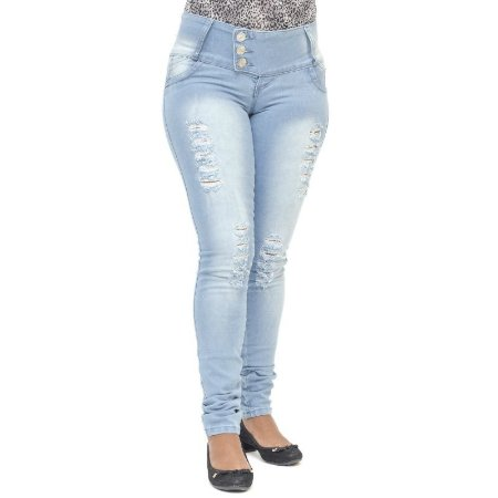 Calça Jeans Legging Credencial Rasgada Levanta Bumbum