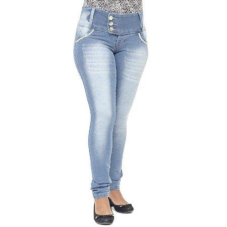 Calça Credencial Legging Jeans com Strass