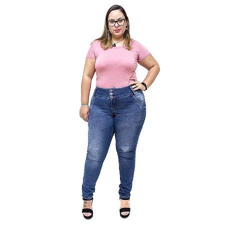 Calça Jeans Feminina Credencial Plus Size Skinny Micicleide Azul