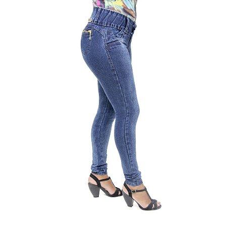 Calça Jeans Legging Feminina Meitrix Azul Escura Levanta Bumbum com Bolsos
