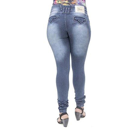 Calça Jeans Feminina Cheris Escura Manchada Levanta Bumbum