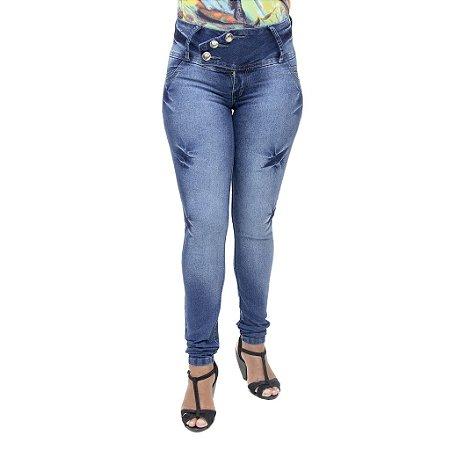 Calça Jeans Feminina Cheris Azul Manchada Cintura Média