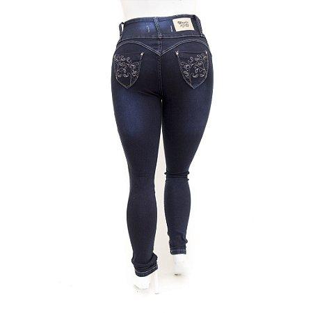 Calça Jeans Feminina Plus Size Cintura Alta Azul Legging Cheris