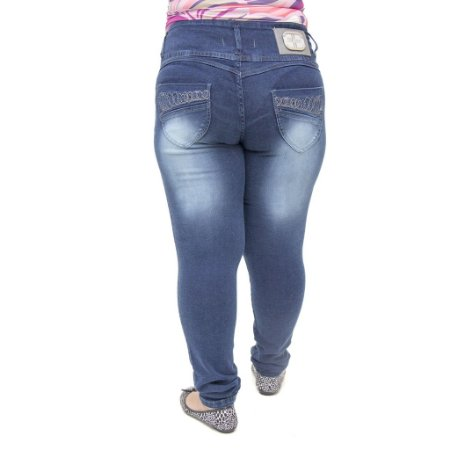 Calça Jeans Legging Feminina Hevox Escura Plus Size Levanta Bumbum