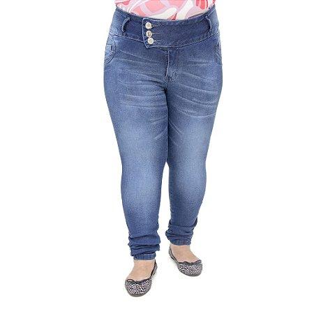 Calça Jeans Feminina Credencial Azul Plus Size Levanta Bumbum