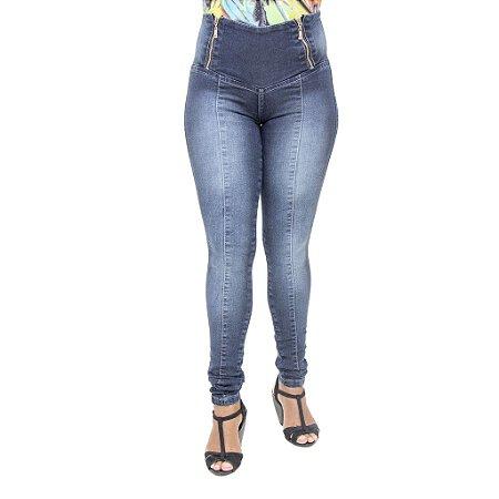Calça Jeans Legging Feminina Credencial Escura com Cintura Alta
