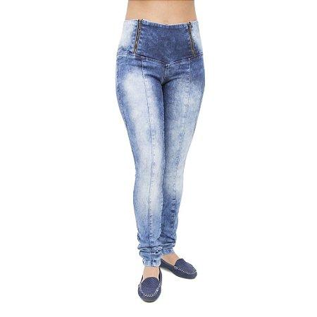 Calça Jeans Feminina Legging Credencial Manchada com Cintura Alta