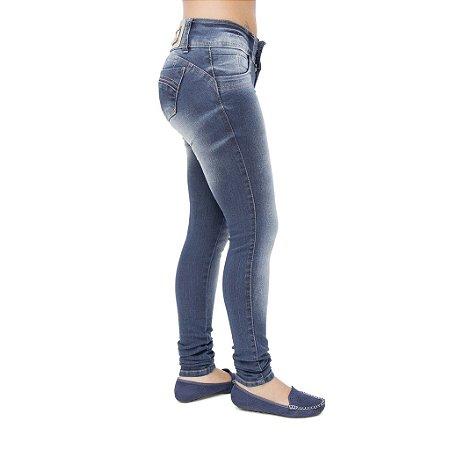 Calça Jeans Feminina Helix Escura com Bolsos Levanta Bumbum