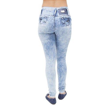 Calça Jeans Feminina Legging Helix Marmorizada Levanta Bumbum