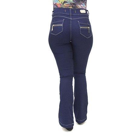 Calça Jeans Feminina Deerf Modelo Flare Boca de Sino com Elastano