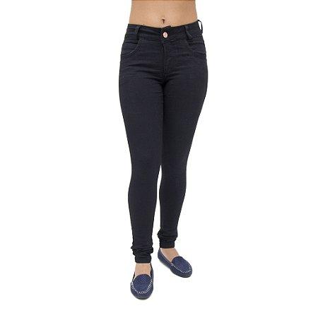 Calça Jeans Feminina Legging Deerf Preta Levanta Bumbum