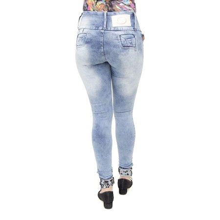 Calça Jeans Feminina Legging Credencial com Lavagem Azul Manchada