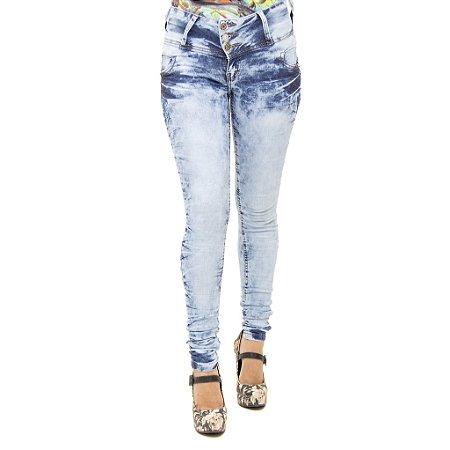 Calca Jeans Legging Feminina Marmorizada Cheris Levanta Bumbum
