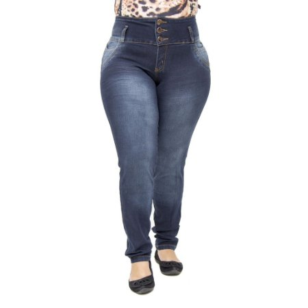 c9c65c15f Calça Jeans Feminina Legging Hevox Plus Size Cintura Alta com Elástico