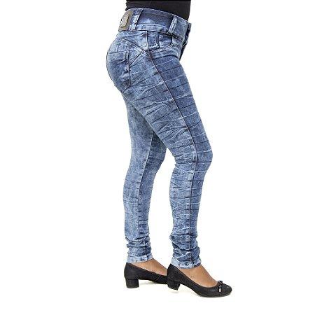 Calça Jeans Feminina Legging Hevox Marmorizada Levanta Bumbum