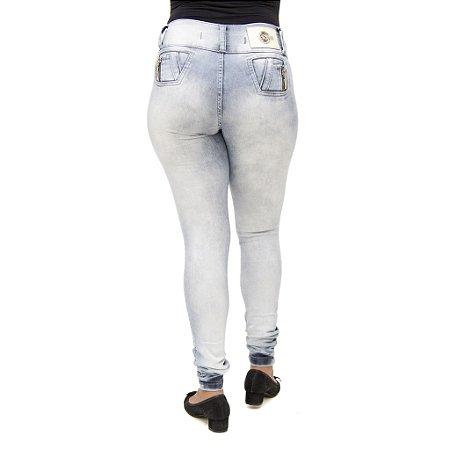 Calça Jeans Legging Feminina S Planeta Marmorizada Levanta Bumbum