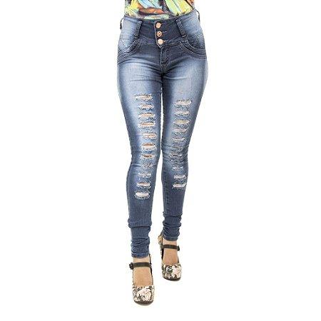 Calça Jeans Legging Feminina S Planeta Escura Rasgada Levanta Bumbum