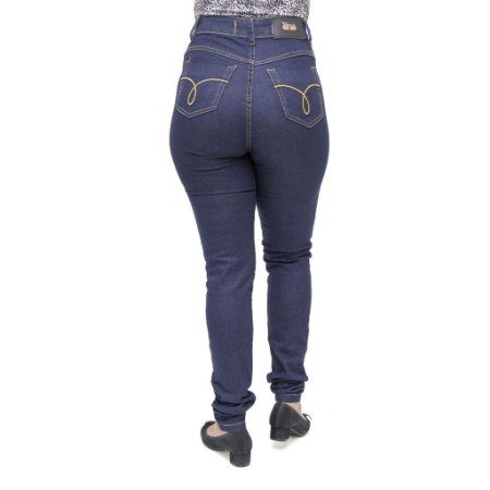 Calça Jeans Feminina Legging Cheris Hot Pant Azul Marinho Cintura Alta
