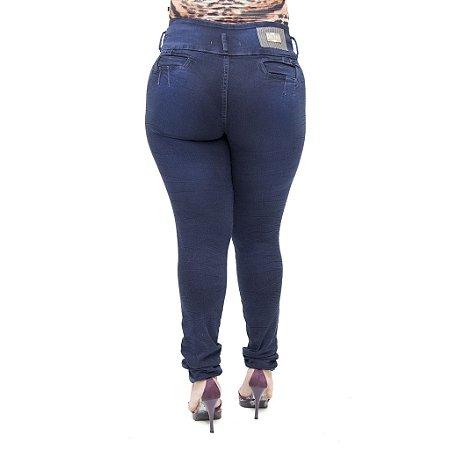 Calça Jeans Feminina Helix Legging Escura Plus Size Cintura Alta