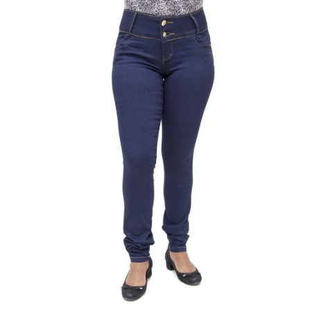 5fe61ca3e Calça Jeans Feminina Legging Bel Belita Azul Marinho Levanta Bumbum