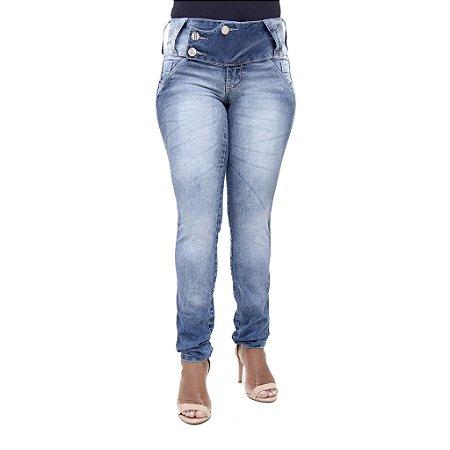 Calça Jeans Feminina Legging Deerf Manchada Levanta Bumbum