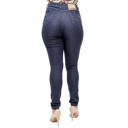 Calça Jeans Feminina S Planeta Hot Pant Escura com Cintura Alta