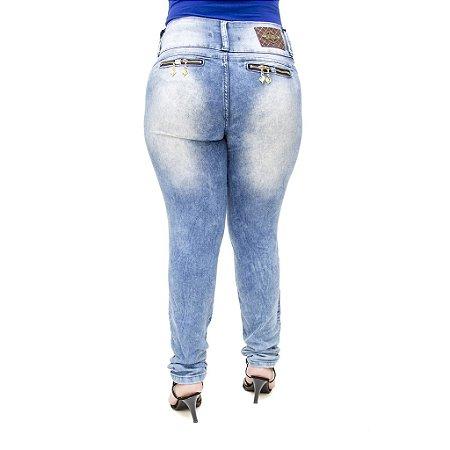Calça Jeans Feminina Legging Helix Marmorizada Plus Size Cintura Alta