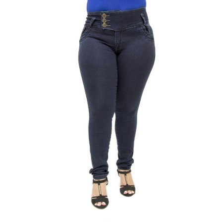 Calça Jeans Legging Feminina Helix Escura Plus Size Cintura Alta