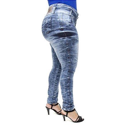 Calça Jeans Feminina Legging Helix Marmorizada Plus Size Cintura Alta com Elástico