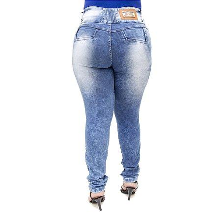 Calça Jeans Feminina Legging Hevox Marmorizada Plus Size Cintura Alta com Elástico