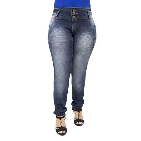 Calça Jeans Feminina Legging Thomix Escura Plus Size Cintura Alta