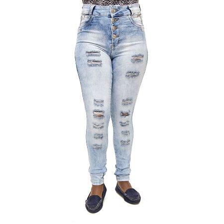 Calça Jeans Feminina Credencial Hot Pants Rasgada Cintura Alta