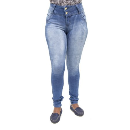 Calça Jeans Feminina Legging Meitrix Azul Manchada com Elástico