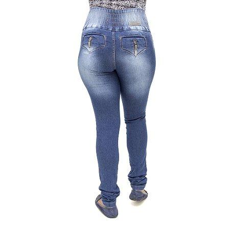 Calça Jeans Feminina Legging Helix Azul com Elástico Levanta Bumbum