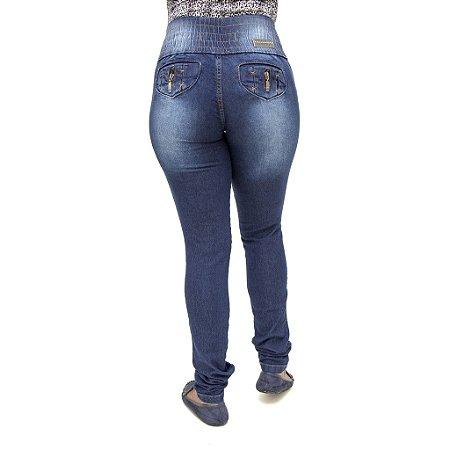Calça Jeans Feminina Legging Helix Azul Escura com Elástico Levanta Bumbum